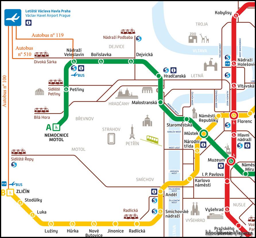 mapa bus metro aeropuerto